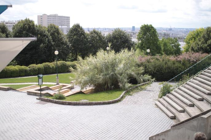 The view from the top of the concrete step-seats in Parc de Belleville